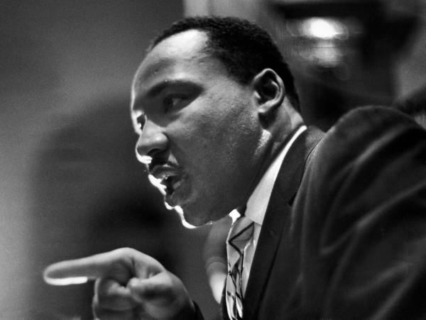 Rev. Martin Luther King Jr. speaking in First Baptist Church at rally for Freedom Riders.