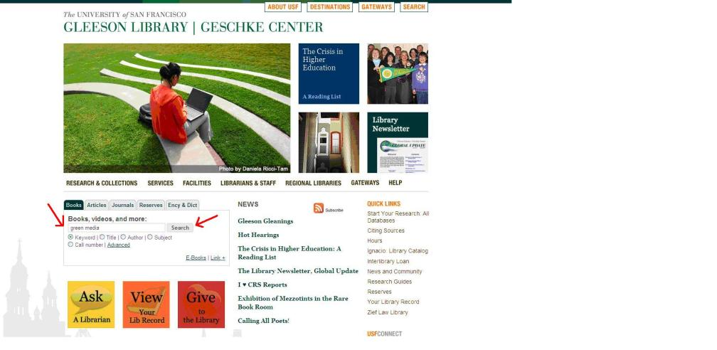 Figure 1. Library Home Page