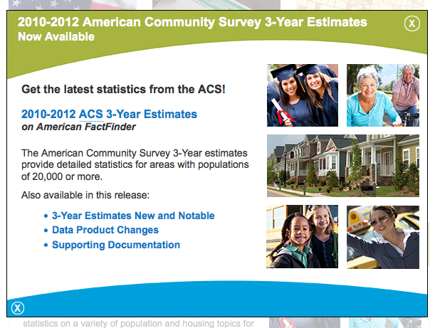 Notice of availability of 3 year estimate report from the American Community Survey web site.