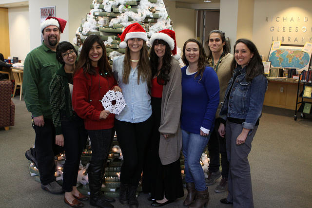 Access Services student assistants and staff get into the Holiday Spirit. Photo by Shawn Calhoun.
