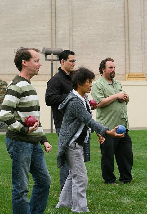 Helen poised to make a killer bocce move (center).