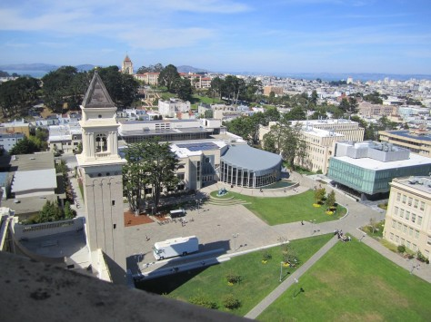 The campus, with the northeast tower, the quad, the library, Harney Science Center, with the city and the north bay beyond!!