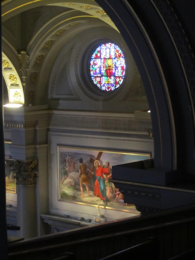Above the original choir loft we took in all the lushly enamorate beatific sights adorning the nave's upper walls from a slightly new angle of vision.