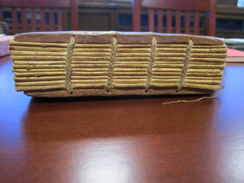 This object was bound with wooden boards, a characteristic repurposed for the contemporary coptic binding we saw above.