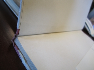 Another example of the interior hinge. Also notice the natural degradation of the cloth and paper cover that were pasted over the boards during the case construction.