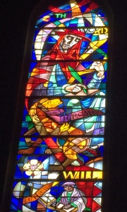 St. Jerome in the stained glass at Grace Cathedral in San Francisco