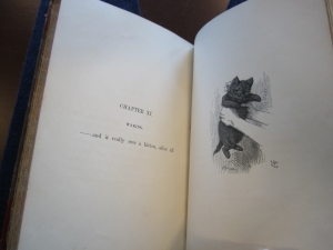 Detail of content, including one of Tenniel's illustrations (of a kitty cat).