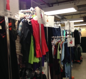 Racks are organized by size and type of clothing, to make it easier for St. Anthony's guests to find clothing in their size and that meets their needs.