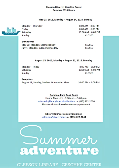 Summer 2016 Library Hours