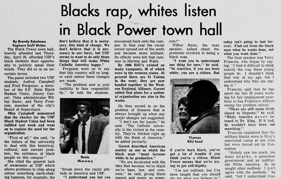 Blacks rap, whites listen in Black Power town hall