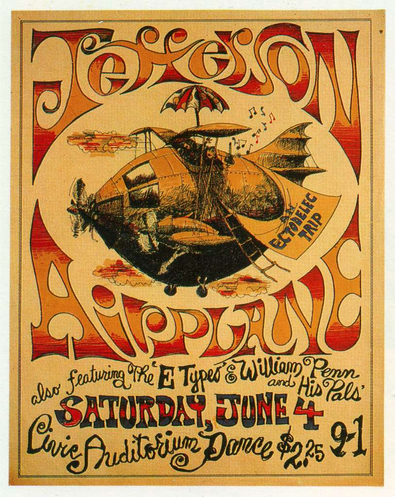Poster for band Jefferson Airplane performance