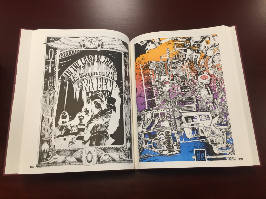 Book plates displaying a poster for band Grateful Dead and artwork from the Oracle