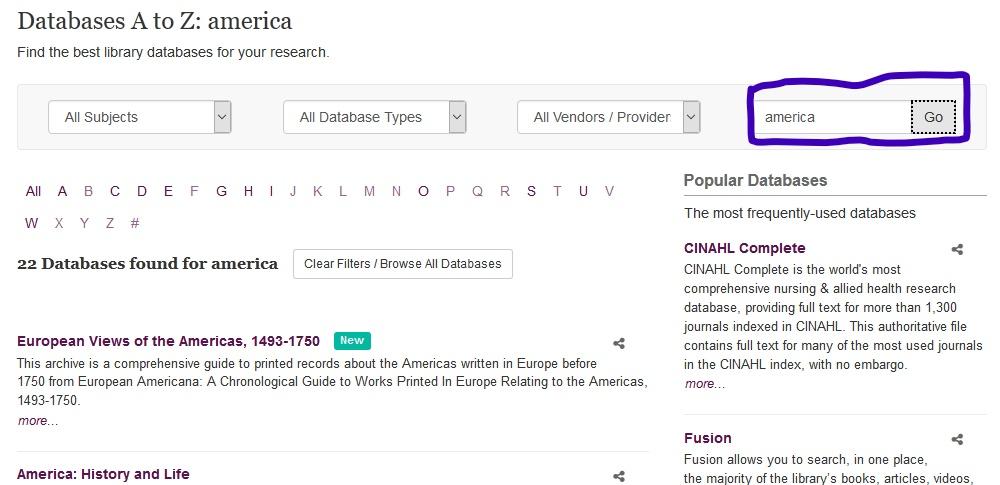 Screenshot highlighting keyword searching