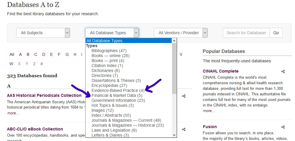 screenshot highlighting how to limit types of databases