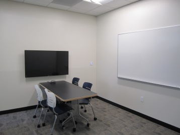 Gleeson 2nd Floor: a new group study room with a LCD screen