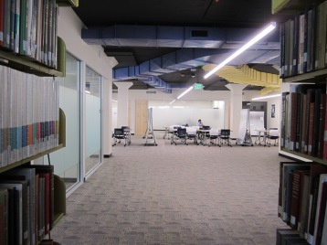 Gleeson 2nd Floor: a view from the H book stacks into the new study area