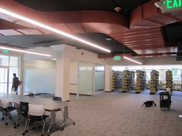 Gleeson 2nd Floor: a view towards the H stacks from the new study space
