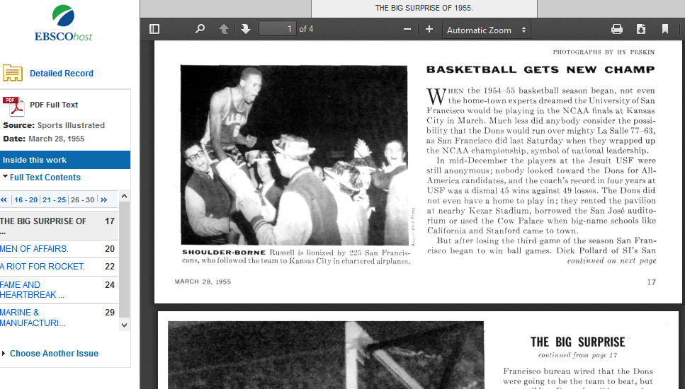 Screenshot of Sports Illustrated Archive featuring the USF 1955 basketball team