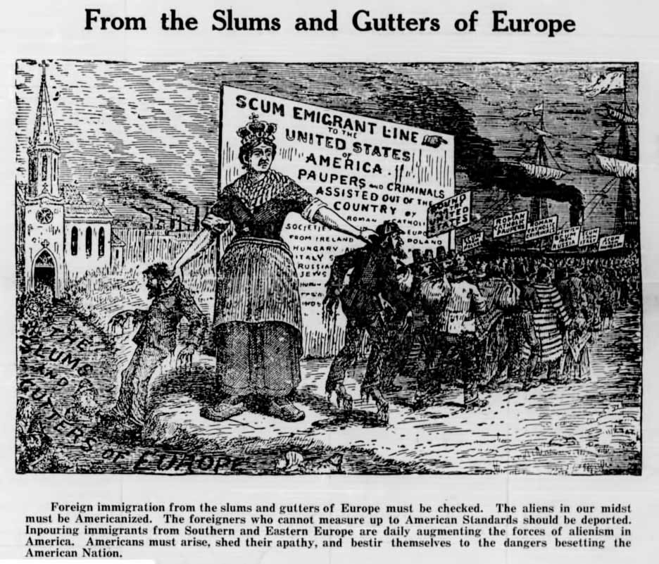 Newspaper clipping with cartoon caricature 'From the Slums and Gutters of Europe'