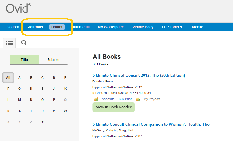 """All Books"" list in Ovid as a screenshot"