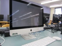 Close up view of new iMac computer