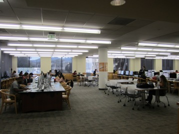 View of middle row of reference department computer lab, location of new iMacs and Windows 10 computers
