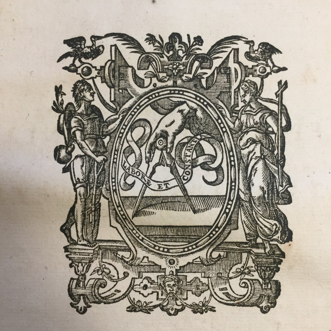 Printer's device. Ex officina Plantiniana, Title page from Pontificale Romanum Clementis VIII (1627)