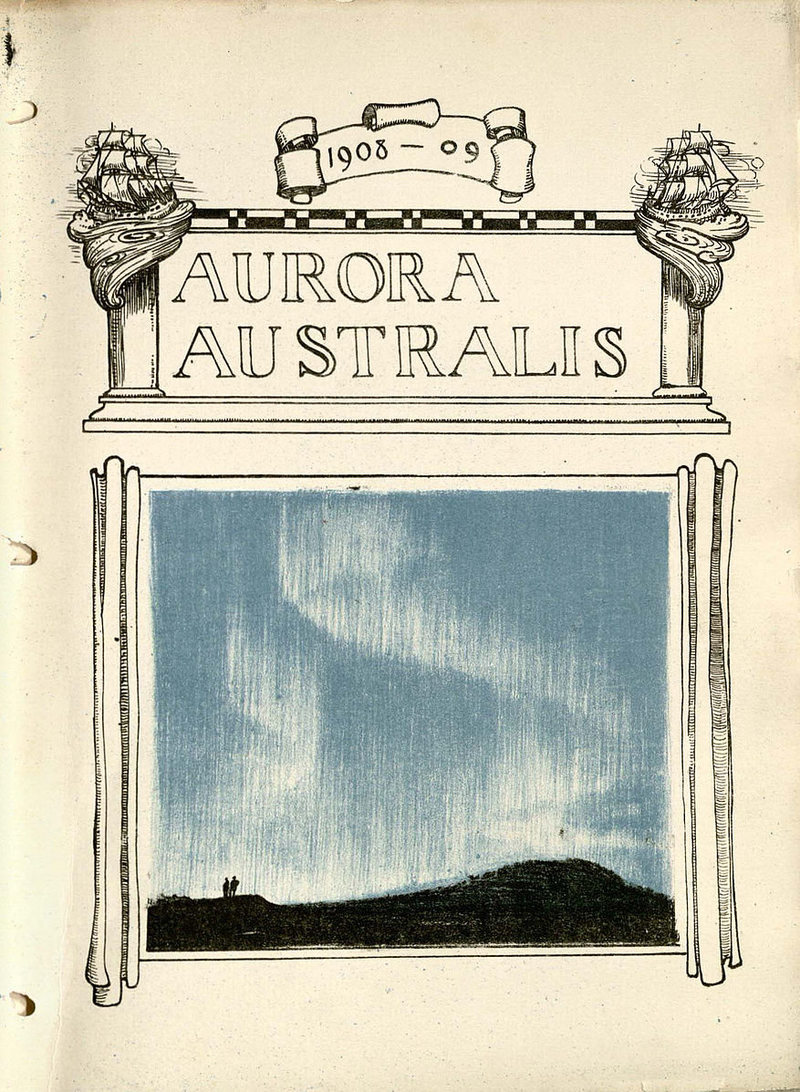 The cover page of Aurora Australis, featuring an illustration by George Marston.