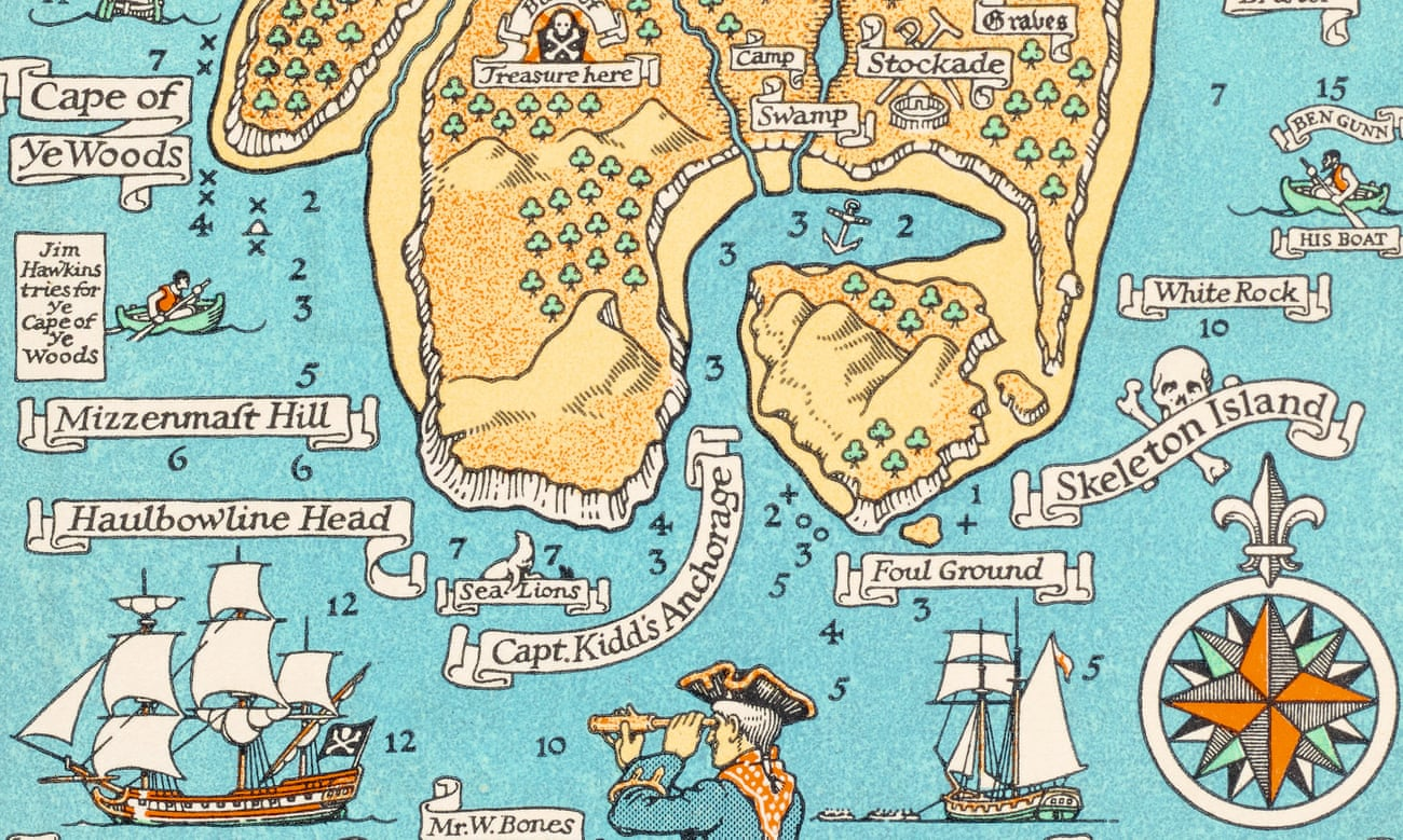detail of map based on the book Treasure Island