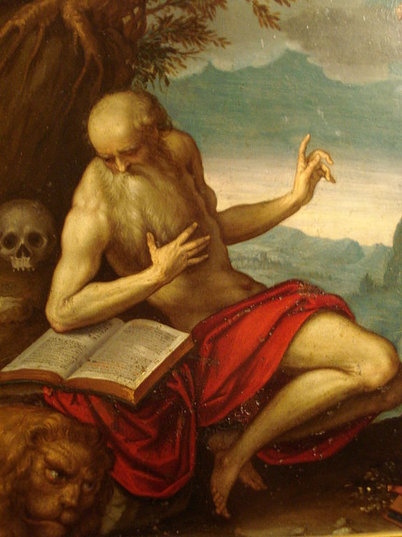 Painting of St. Jerome with skull and lion