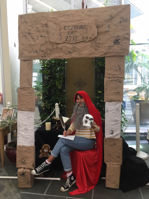 Library staff dressed up as St. Jerome