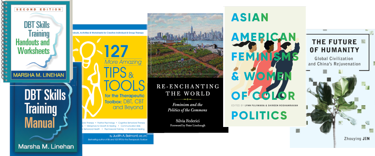 covers of new ebooks on DBT skills, Asian American Feminism, and world agriculture