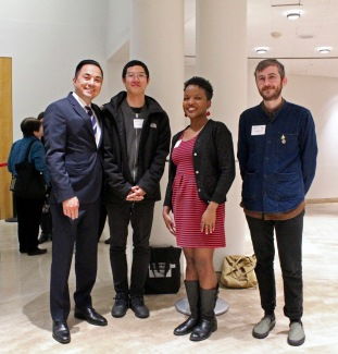 Image from left to right of Michael Lambert, Raymund Pun, Gina Murrell, and Anders Lyon at the Collective Mindset of our Future: BayNet Annual Event at the San Francisco Public Library on May 17, 2019