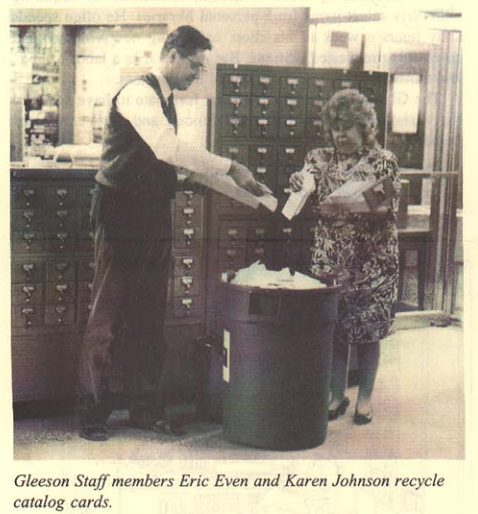 Gleeson Staff members Eric Ewen and Karen Johnson recycling catalog cards