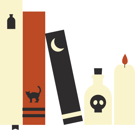 Cartoon image of spooky books, bottle of poison, and a lit candle.