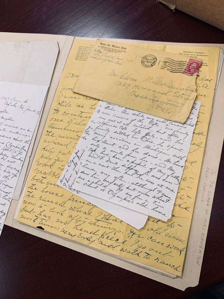 handwritten letters to Clara NacNaughton