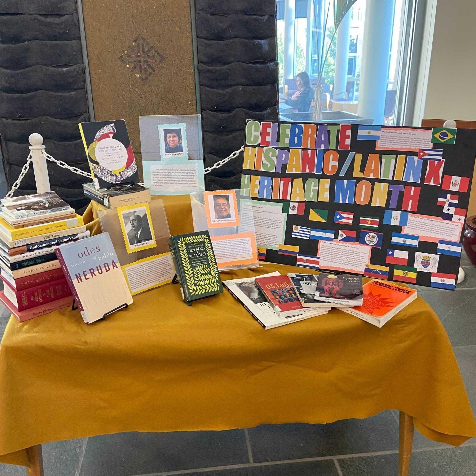 Hispanic/Latinx Heritage Month book display in Gleeson Library lobby